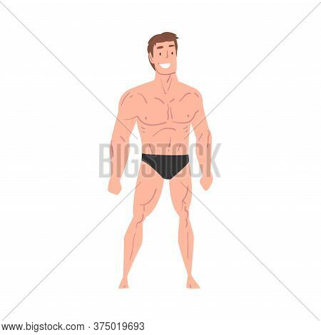 Handsome Athletic Man In Underwear, Smiling Young Man With Muscular Body Cartoon Style Vector Illust