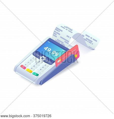 Cashless Payment Via Credit Card Isometric Concept. 3d Payment Machine Printing Check With Plastic D