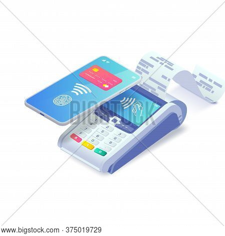 Contactless Payment Via Smartphone Isometric Concept. 3d Payment Machine And Mobile Phone With Credi