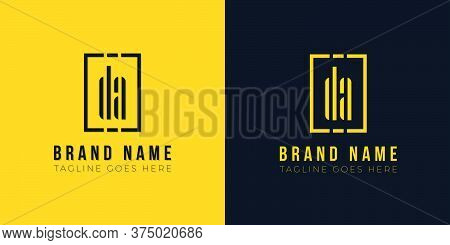 Minimal Abstract Initial Letter Da Logo. This Icon Incorporate With Abstract Rectangle Shape And Typ