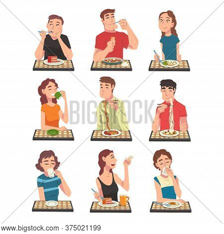 People Eating Different Meals Set, Men And Women Sitting At Tables Enjoying Eating Of Delicious Food