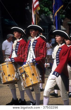 Drummers In Red And White Colonial Uniforms