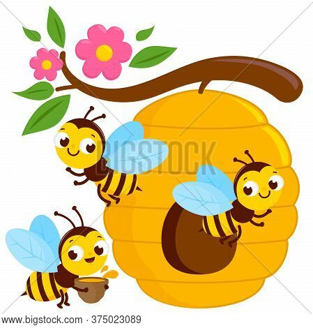Busy Bees Flying Around A Beehive. Vector Illustration