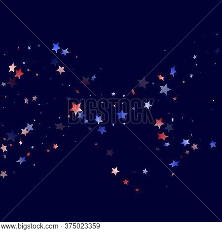 American Patriot Day Stars Background. Holiday Confetti In Usa Flag Colors For Presidents Day.  Cool