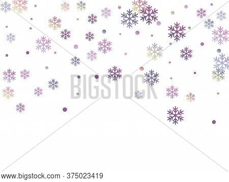Crystal Snowflake And Circle Elements Vector Design. Trendy Winter Snow Confetti Scatter Banner Back