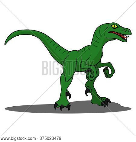 Raptor Dinosaur. Vector Illustration On The Theme Of Archaeology And Dinosaurs On A White Isolated B