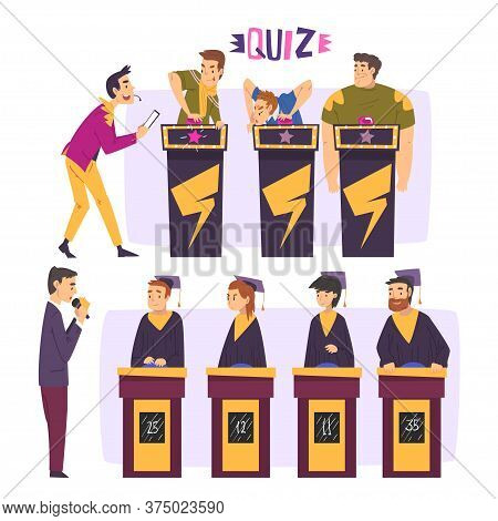 People Playing On Quiz Show Set, Participants Answering Questions On Television Intellectual Game, P