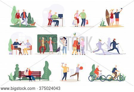 Old Couple. Vector Active People Collection. Happy Elderly Characters. Old Persons In Cafe, Park, Fo