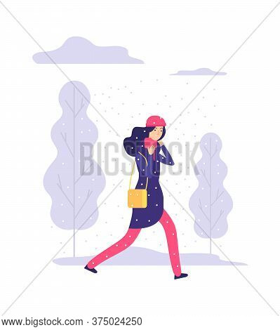 Snowy Walking Day. Winter Weather, Woman Going With Bag. Sad Female Character, Tired Girl. Outdoor T