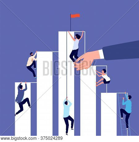 Career Competition. Growth Ladder, Corporate Challenge. Business People Climb Up To Success. Help In