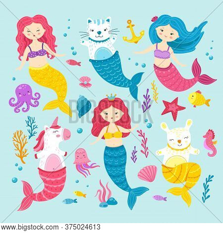 Cat Unicorn Mermaid. Graphic Happy Magic Mermaids. Funny Cartoon Kitten Hare Pony. Sea Life Clipart