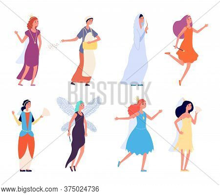 Female Fairy Tales Characters. Women In Festive Suits. Happy Isolated Actress. Princesses Queen Medi