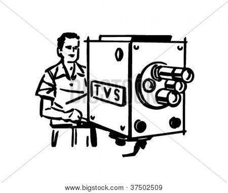 TV Cameraman - Retro Clipart Illustration