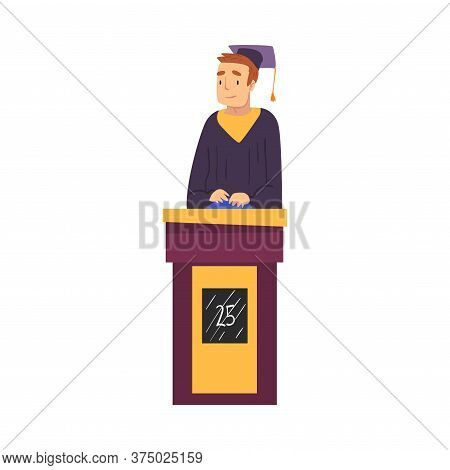 Man Guessing Questions On Quiz Show, Participant Wearing Robe And Graduation Cap Answering Question
