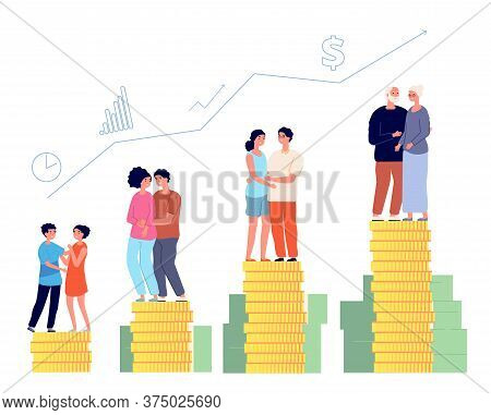 Retirement Savings Plan. Smart Retired, Pension Management. Family Money Fund, Aging Man Successful