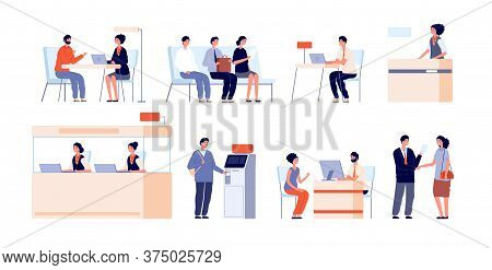 Bank Clients Service. Banking Office, Counter And Client Service. Cash Desk, Cashier Atm Professiona