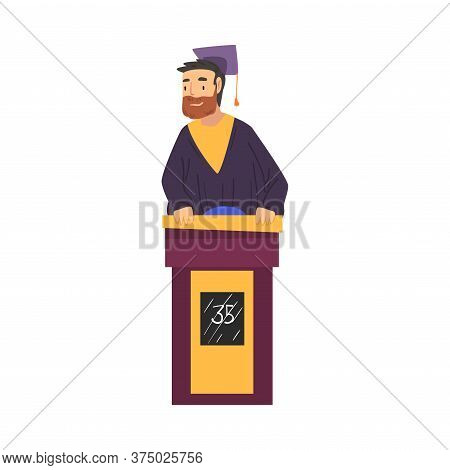 Mature Bearded Man Playing On Quiz Show, Participant Wearing Robe And Graduation Cap Answering Quest