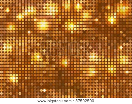 Golden vector background - horizontal mosaic with light spots poster