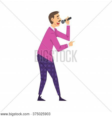 Male Presenter, Tv Show Host With Microphone On Television Game Show Cartoon Style Vector Illustrati