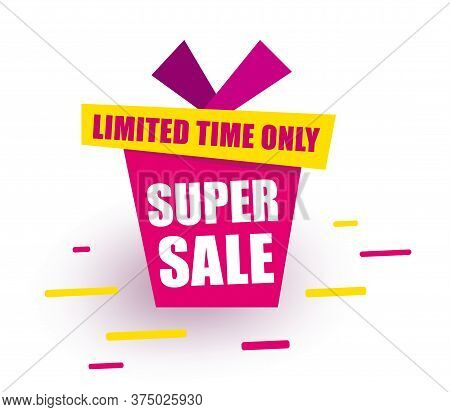 Sticker Super Sale Red Gift Box Says Super Sale Limited Time Only.