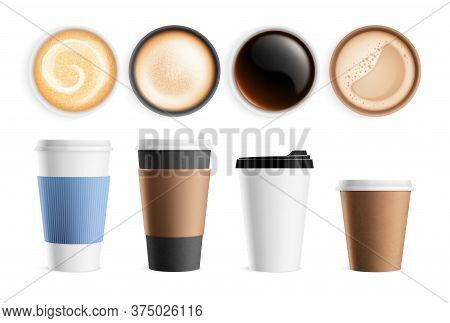 Top View Coffee Cup. Isolated Hot Breakfast Beverages, Latte Espresso Cappuccino. Realistic Mug Fron
