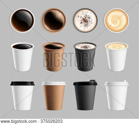 Takeaway Coffee Mockup. Plastic Paper Cup For Liquid And Drink To Go. Espresso Latte Cappuccino Mug,