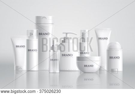 Cosmetic Bottles. Beauty Product Package, Spa Containers Mockup. Shampoo Soap Cream Blank Tubes. 3d