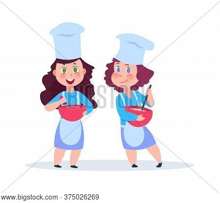 Cartoon Chefs. Adorable Female Characters With Plates. Young Housewifes, Girls Baking Something Vect