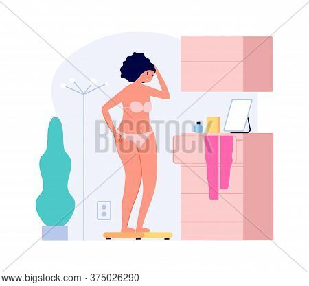 Fat Girl Weighed. Overweight, Upset Woman On Scales In Room.flat Female Character Need Diet Vector I