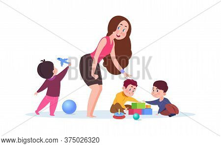 Kindergarten Time. Cute Cartoon Toddlers, Adorable Teacher. Young Nanny Or Babysitter And Playing Ki