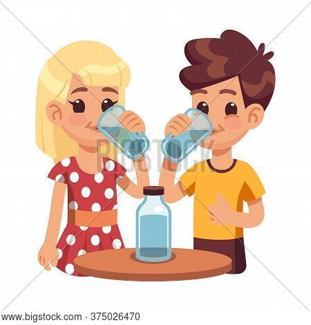Kids Drink Water. Children With Glass Cup, Thirsty Boy Girl. Healthy Lifestyle Of Cute Happy Child.