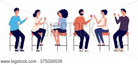 People Sitting On Bar Stools. Friends Meeting, Man Woman Drinking Cocktails Wine. Isolated Boy Girl