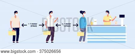 Safe Distance. Social Precautions, Queue People Group In Protective Masks. Prevent Risk Infection, K