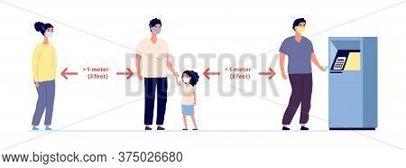 Social Distance. Safe Self Precautions Infographic, People Wearing Protective Masks. Face Mask For P