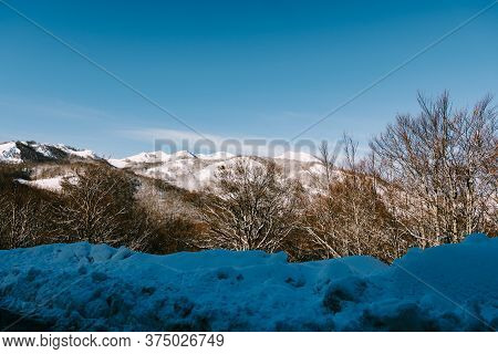 Snow-covered Mountain Peaks In Durmitor National Park, Montenegro, Zabljak.