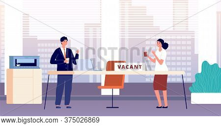 Vacant Workplace. Hiring Employees Required In Office. Recruitment Of Managers, Business Team Lookin