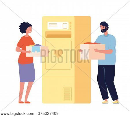 People With Donation Boxes. Clothes Charity Bank Or Recycling Bin. Happy Man Woman Donate Clothing,