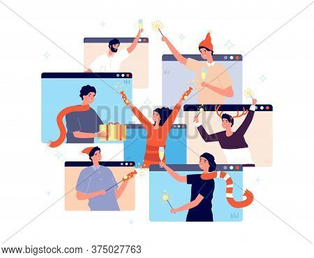 Christmas Online Party. People Celebrating New Year, Happy Friends On Video Chat. Man Woman With Cha