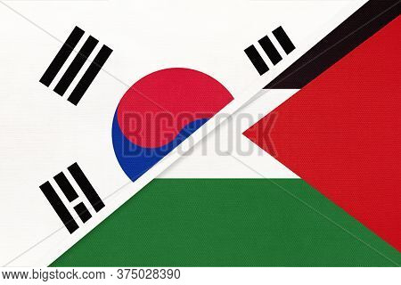 South Korea Or Rok And Palestine, Symbol Of National Flags From Textile. Relationship, Partnership A