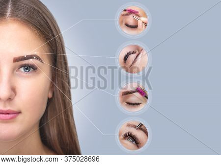 Collage Of Permanent Eyebrow Makeup And Plucking Eyebrows Of Beautiful Woman In Beauty Salon. Closeu