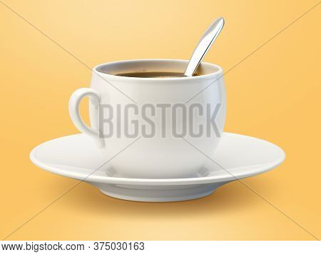 3d Rendering Of A Wite Cup Of Coffee With Spoon
