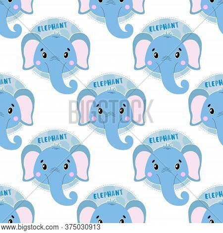 Seamless Pattern Animal Elephant Face. Funny Head Muzzle.