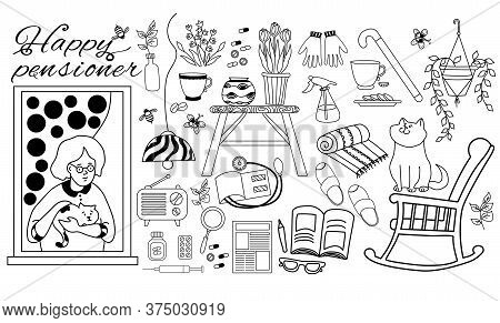 Icon Set Of An Old Woman With A Cat In The Window. The Pensioner Belongings Are A Newspaper And Hous