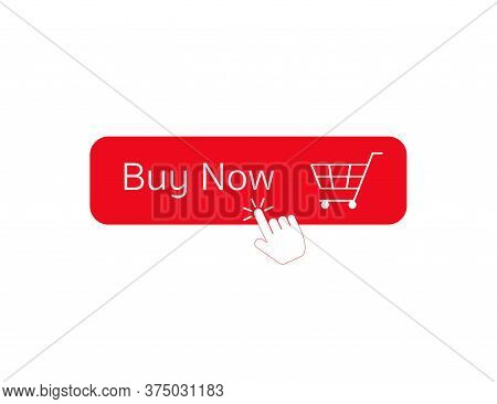 Buy Now Button With Cart Icon. Red Shopping Label. Add To Cart Symbol With Clicking Hand. Isolated W