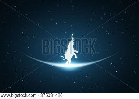 Standing Elephant In Space. Vector Conceptual Illustration With White Silhouette Of Endangered Anima