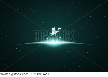 Running Flamingo In Space. Vector Conceptual Illustration With White Silhouette Of Endangered Bird A