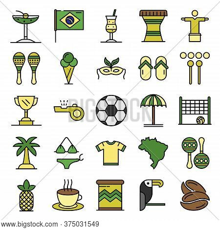Brazil Icons Set. Outline Set Of Brazil Vector Icons Thin Line Color Flat On White