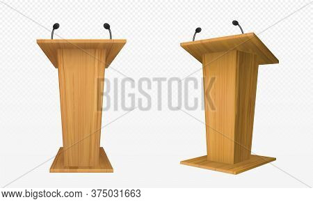 Wooden Pulpit, Podium Or Tribune Front Side View. Rostrum Stand With Microphone For Conference Debat