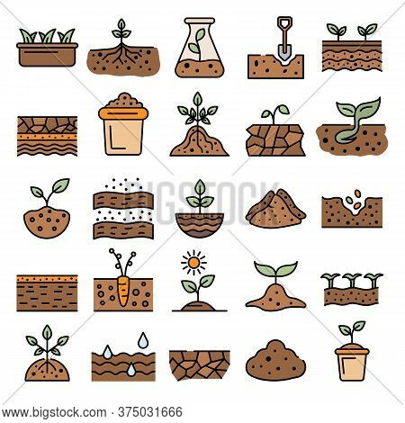 Soil Ground Icons Set. Outline Set Of Soil Ground Vector Icons Thin Line Color Flat On White