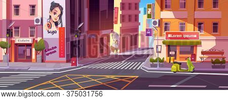 City Street With Houses, Road With Pedestrian Crosswalk, Traffic Lights And Scooter Of Deliver Besid